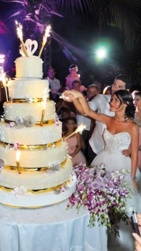 La découpe symbolique de leur somptueux gâteau de mariage.