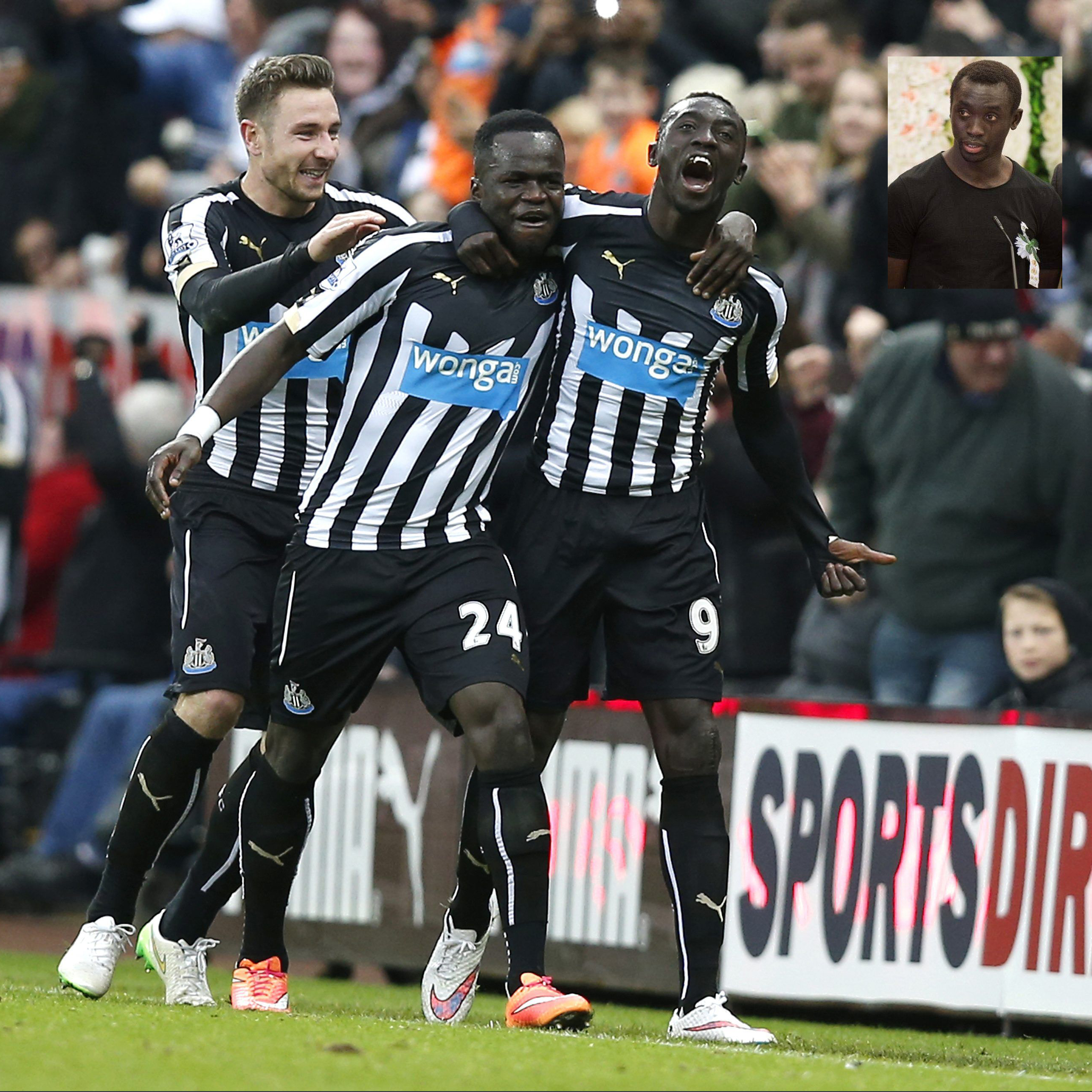"Newcastle United's Papiss Demba Cisse (R) celebrates after scoring the opening goal with Cheik Ismael Tiote during their English Premier League soccer match against Chelsea at St James' Park in Newcastle, northern England December 6, 2014. REUTERS/Andrew Yates (BRITAIN - Tags: SPORT SOCCER) NO USE WITH UNAUTHORIZED AUDIO, VIDEO, DATA, FIXTURE LISTS, CLUB/LEAGUE LOGOS OR ""LIVE"" SERVICES. ONLINE IN-MATCH USE LIMITED TO 45 IMAGES, NO VIDEO EMULATION. NO USE IN BETTING, GAMES OR SINGLE CLUB/LEAGUE/PLAYER PUBLICATIONS. FOR EDITORIAL USE ONLY. NOT FOR SALE FOR MARKETING OR ADVERTISING CAMPAIGNS"