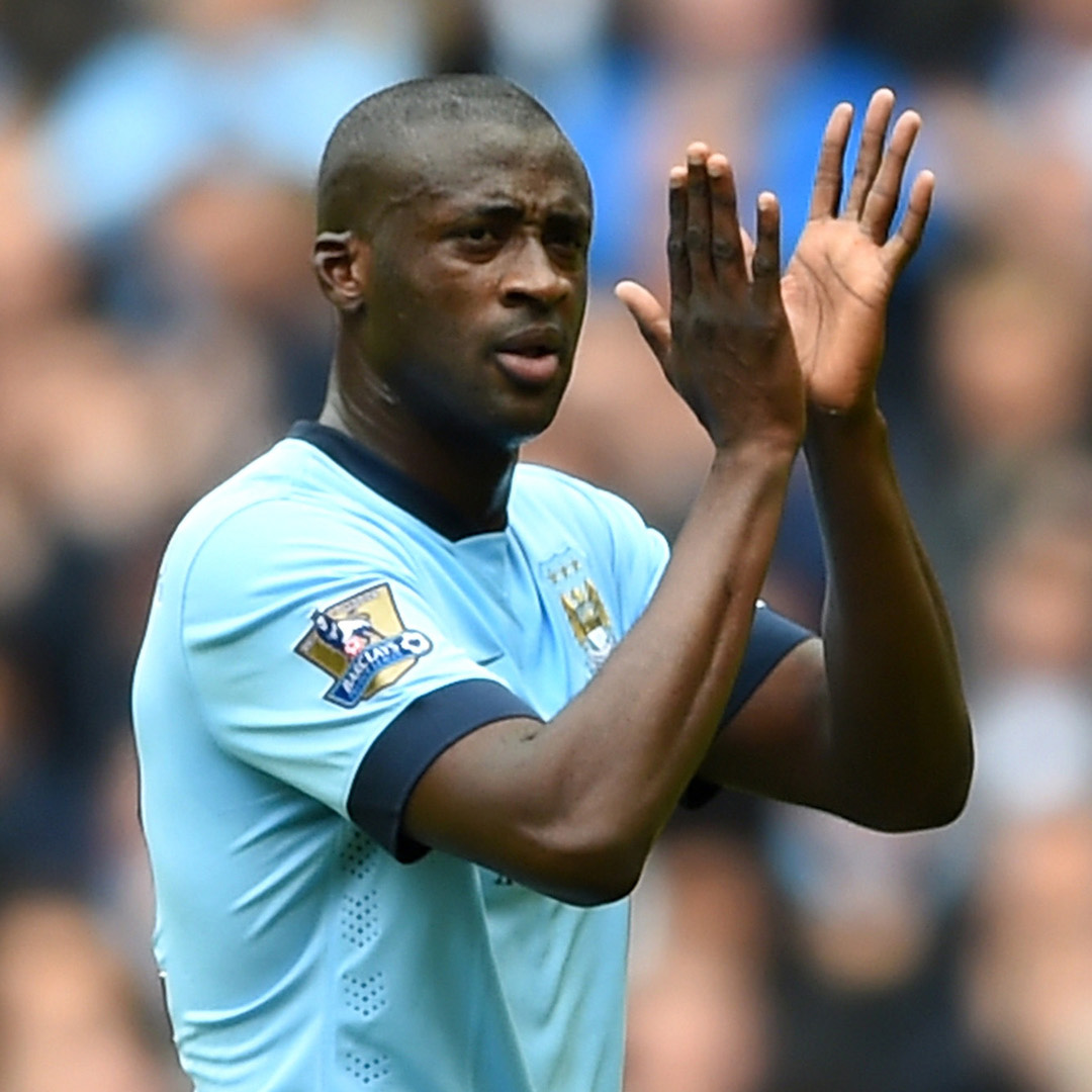MANCHESTER, ENGLAND - MAY 24: Yaya Toure of Manchester City applauds supporters as he is replaced during the Barclays Premier League match between Manchester City and Southampton at Etihad Stadium on May 24, 2015 in Manchester, England. (Photo by Shaun Botterill/Getty Images)