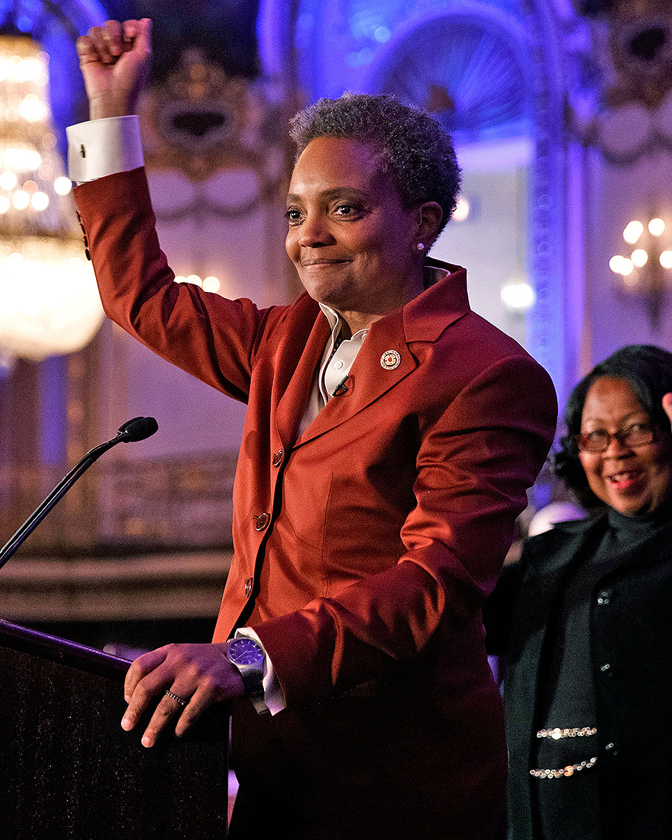 Lori Lightfoot appears at an election night party at the the Hilton Chicago hotel on Tuesday April 2, 2019, in Chicago. (Armando L. Sanchez/Chicago Tribune/TNS via Getty Images)