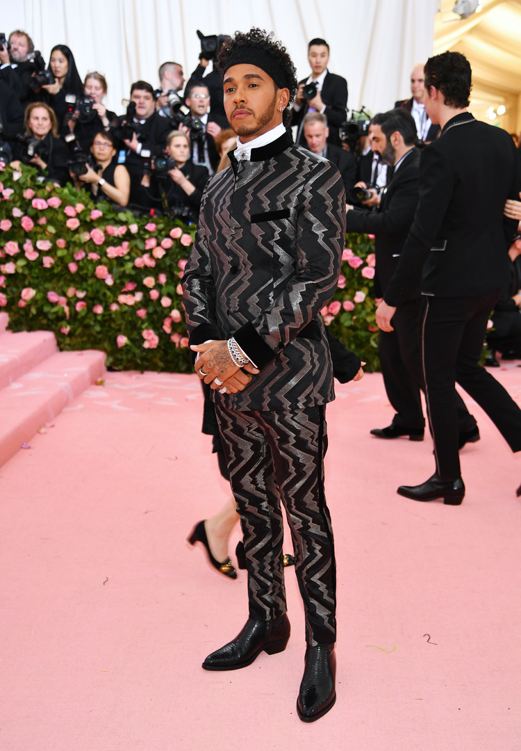 NEW YORK, NEW YORK - MAY 06: Lewis Hamilton attends The 2019 Met Gala Celebrating Camp: Notes on Fashion at Metropolitan Museum of Art on May 06, 2019 in New York City. Dimitrios Kambouris/Getty Images for The Met Museum/Vogue/AFP