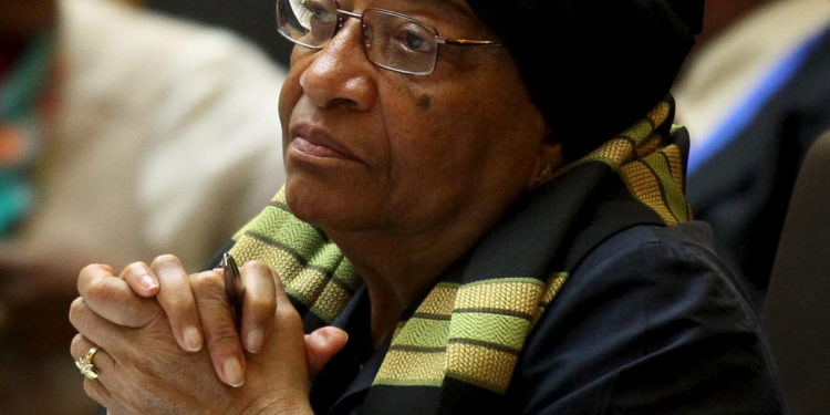Liberia's President Ellen Johnson-Sirleaf attends the opening ceremony of the 26th Ordinary Session of the Assembly of the African Union (AU) at the AU headquarters in Ethiopia's capital Addis Ababa, January 30, 2016. REUTERS/Tiksa Negeri  - RTX24OAO