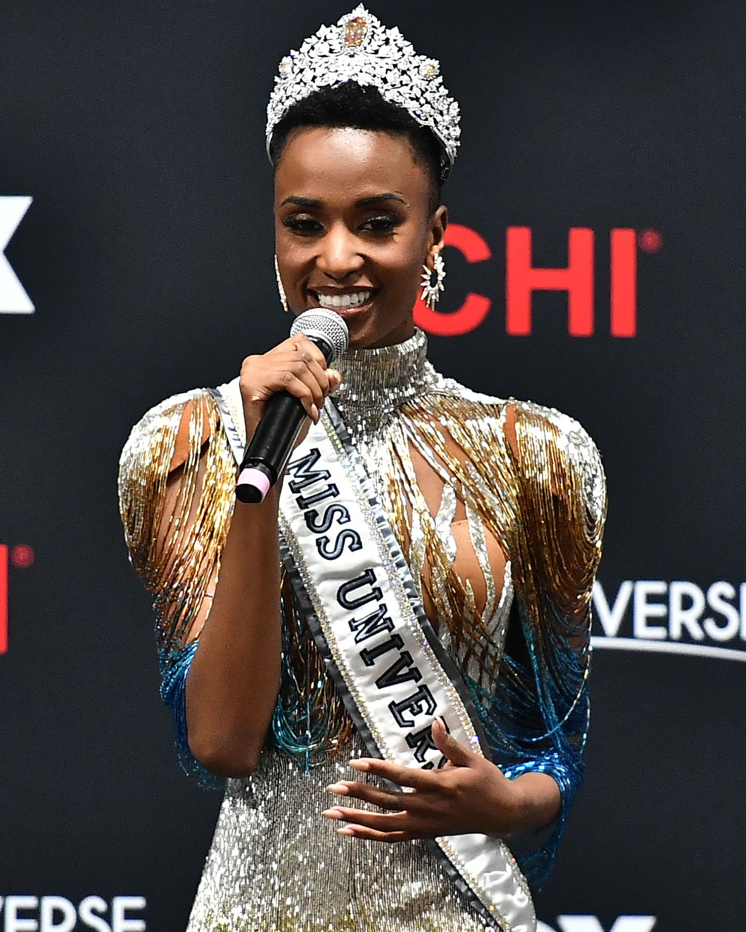 ATLANTA, GEORGIA - DECEMBER 08: (EDITORIAL USE ONLY) Miss Universe 2019 Zozibini Tunzi, of South Africa, speaks at a press conference following the 2019 Miss Universe Pageant at Tyler Perry Studios on December 08, 2019 in Atlanta, Georgia.   Paras Griffin/Getty Images/AFP