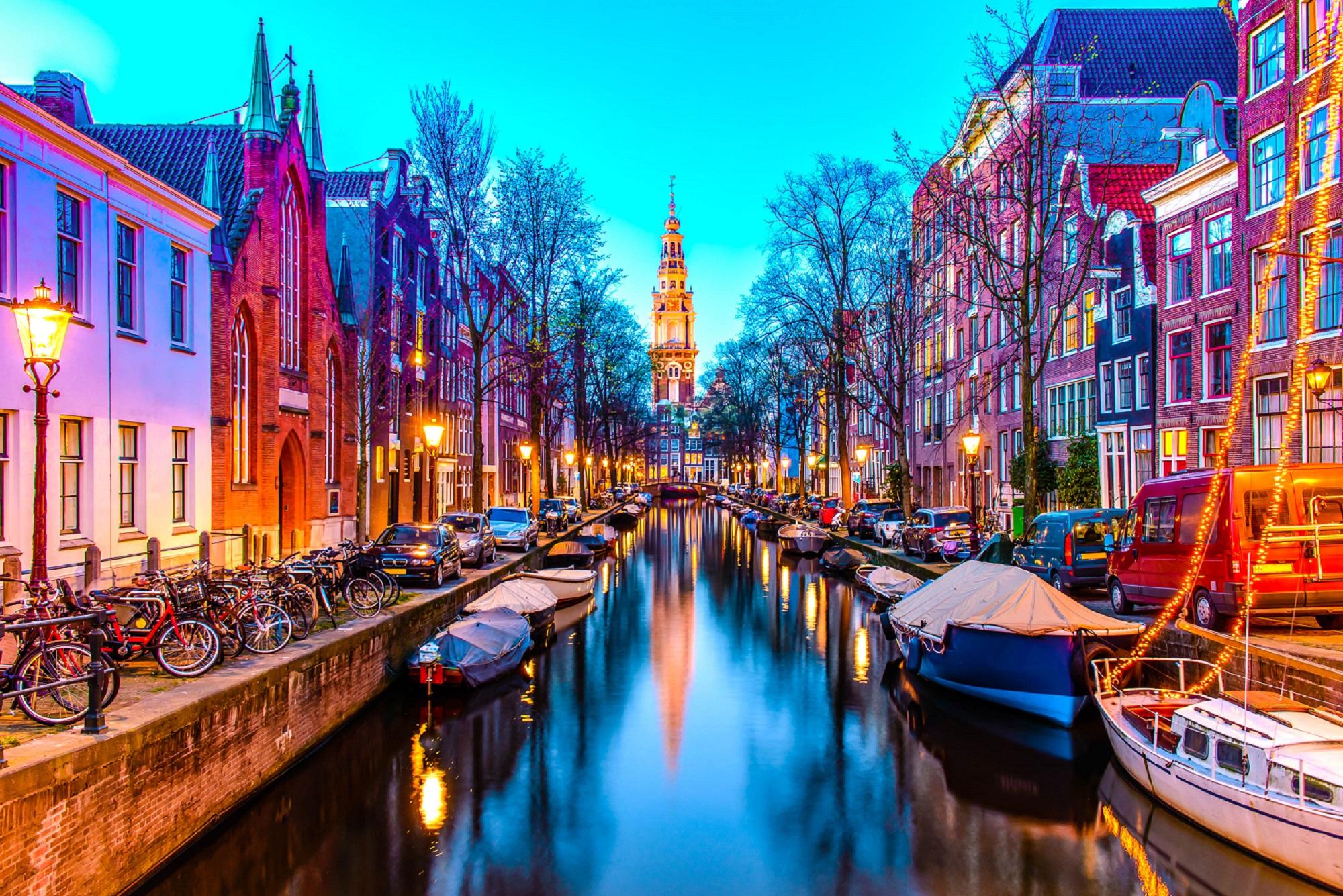 Night view of Zuiderkerk in Amsterdam, The Netherlands.