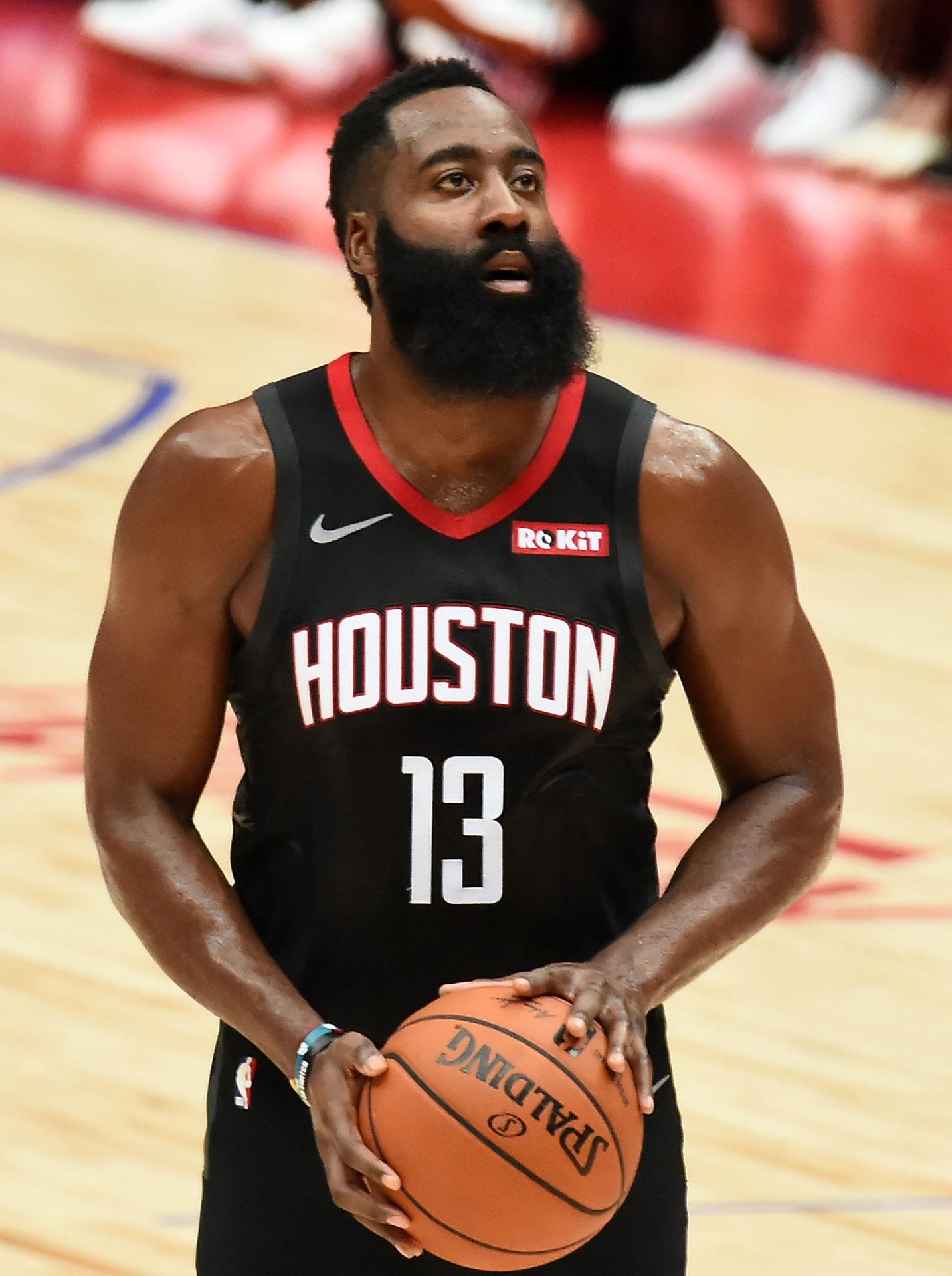 SAITAMA, JAPAN - OCTOBER 08:  James Harden #13 of Houston Rockets shoots the ball against the Toronto Rapters on October 8, 2019 at Saitama Super Arena in Saitama, Japan.  (Photo by Jun Sato/WireImage)